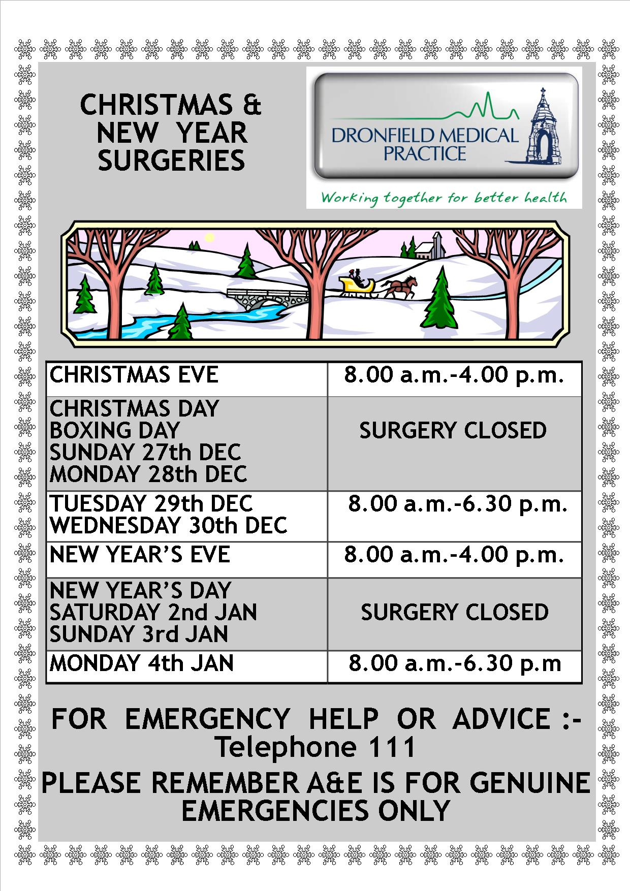 Xmas / New year opening times